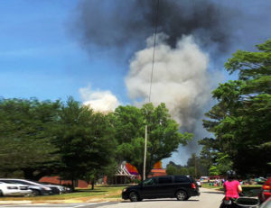 rock hill elementary school on fire