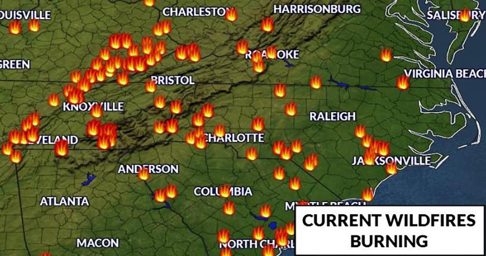 North Carolina Wildfire Map.Dozens Of Wildfires Are Now Spreading Across North Carolina