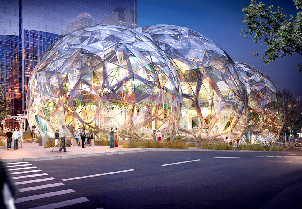 Rendering Amazon's New Spheres Headquarters in Seattle via nbbj