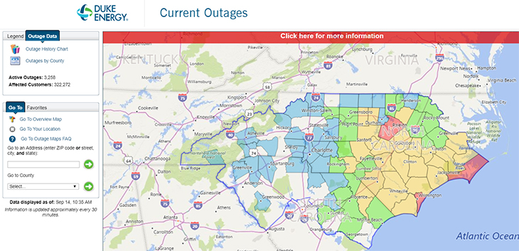 Duke Energy Is Already Reporting Over 300,000 Power Outages in