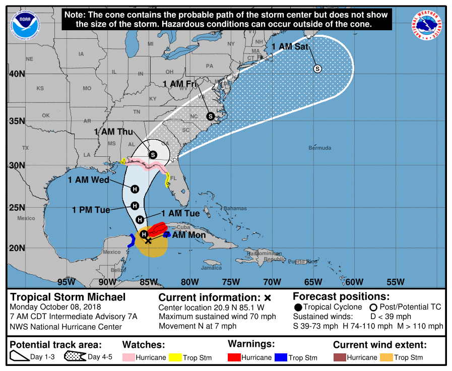 'Potentially catastrophic' Hurricane Michael strengthens to Category 2, targets Florida