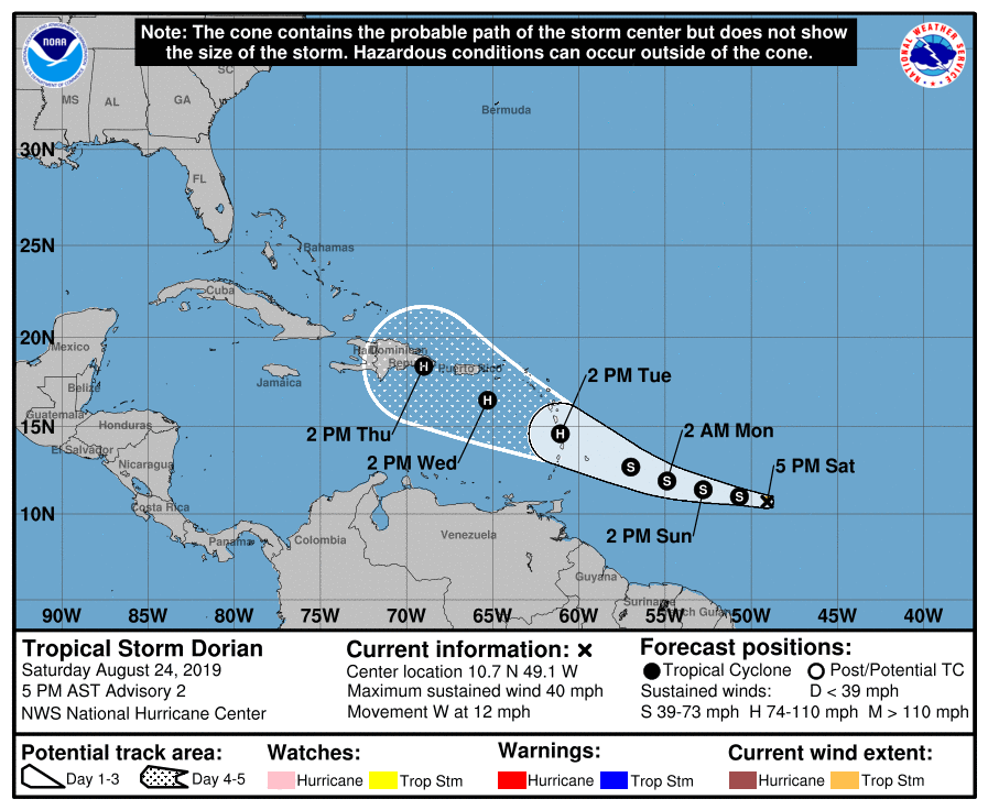 Tropical Storm Dorian Menaces Barbados, With Puerto Rico Ahead