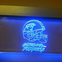 Carolina Panthers Glass wall hanging Light